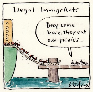 Red imported fire ant cartoon by Cathy Wilcox