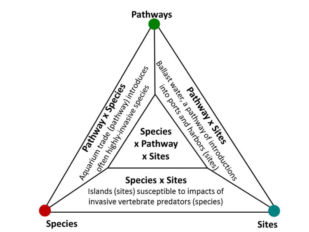 Invasive species, pathway and susceptible sites diagram.
