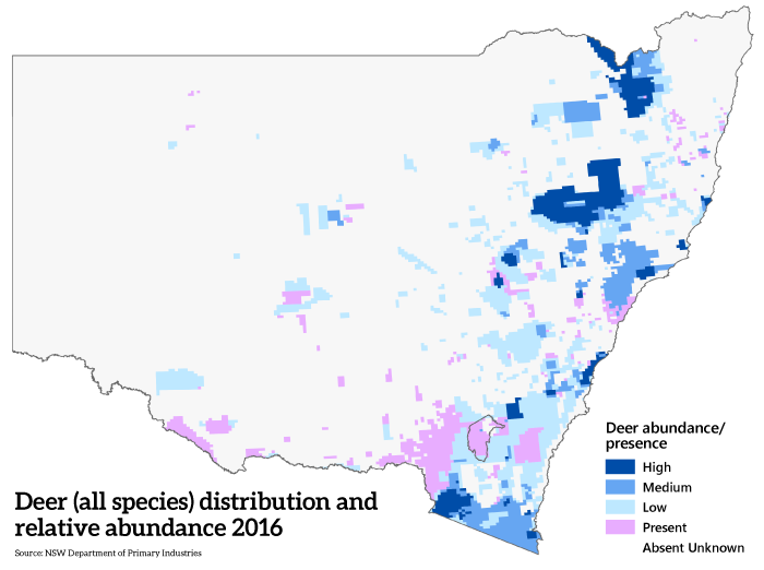 The area covered by the six species of feral deer in NSW in 2016.
