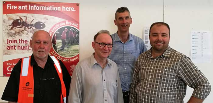 Photo: Biosecurity Queensland's science manager, Ross Wylie (left), and Queensland Control Centre director, Geoff Kent (second left), with Invasive Species Council's Andrew Cox and Reece Pianta during a fire ant briefing.