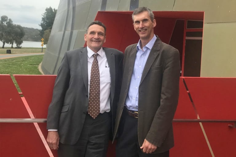 Our CEO Andrew Cox with Ian Thompson at a biodiversity roundtable in 2019.